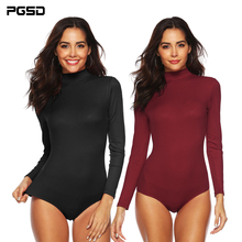 PGSD Simple fashion Pure color Women Clothes High elastic ribbed high collar long sleeve Slim sexy Jumpsuit Bottoming female
