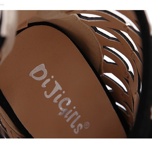 DiJiGirls 2017 Gladiator Roman Sandals Summer Rivet Studded Cut Out Caged Ankle Boots Stiletto High Heel Women Sexy Shoes Bootie