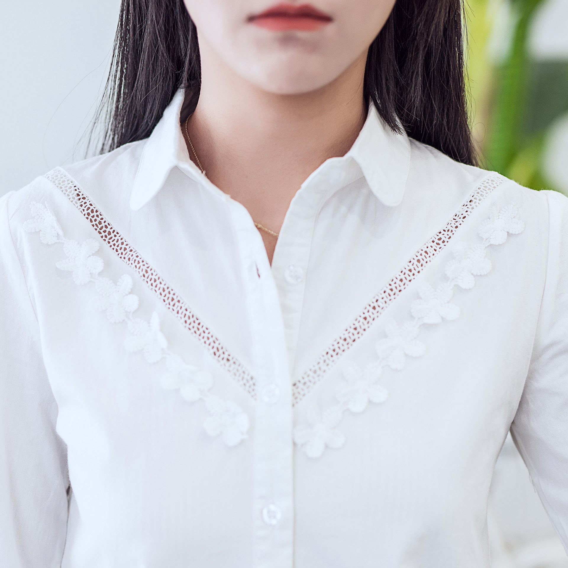 6226408ff35 Women's Blouses Tops Lace Floral Embroidery Frill Work Blouses Long Sleeve  Stand Collar Ladies Tops White Cotton Shirt Womens white-cotton-lace-top