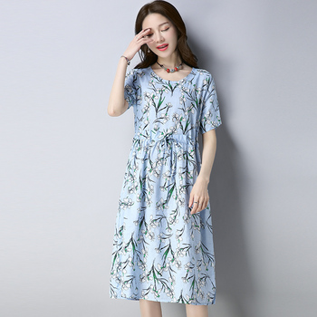 2020 New Women Dresses Summer Vintage Casual Long Sleeve Dress Retro Chinese Style Tunic Flower Printing Plus Size Dress vintage style flower print swing dress