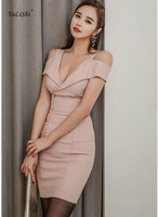 2018 Solid Sexy Office Bodycon Bandage Dress Summer Women Pink Off the Shoulder V neck Mini Club Dress Vestidos Verano Dress