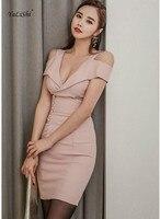 2018 Solid Sexy Office Bodycon Bandage Dress Summer Women Pink Off the Shoulder V neck Mini Club Dress Vestidos Verano Dress