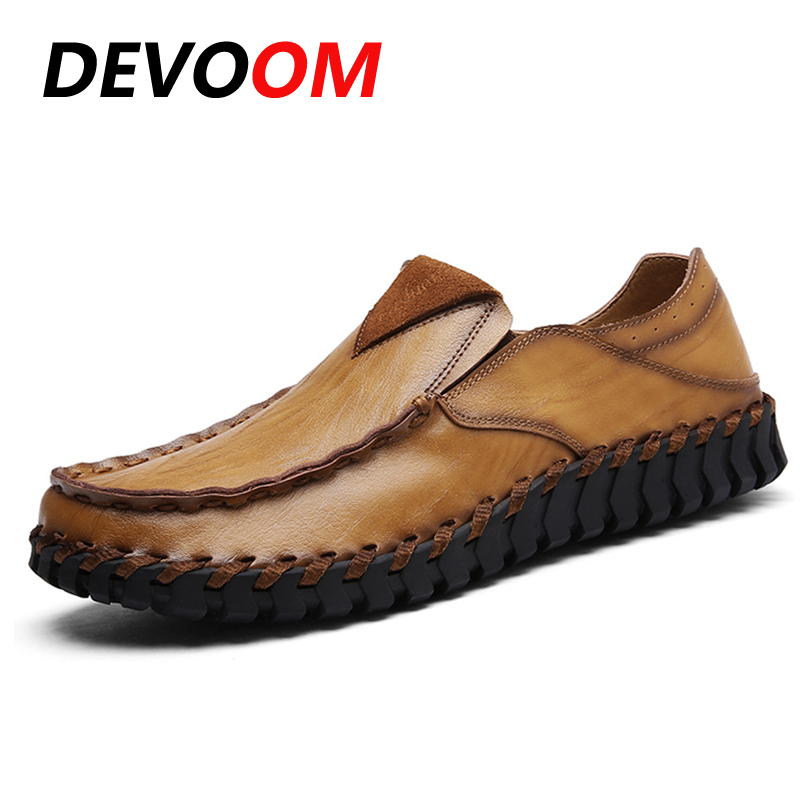 Men Winter Spring Shoes Slip-On Casual Solid Basic Handmade Genuine Leather Shoes Fashion Round Toe Soft Cowhide Male Flats genuine leather cowhide men s casual shoes spring autumn fashion men classic handmade lace up flats comfortable soft bottom shoe