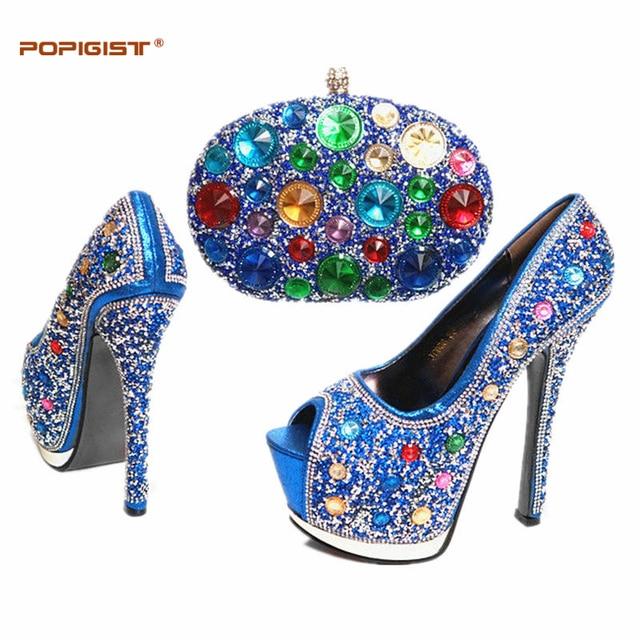43a81ab5e Reais Sapatos Azuis e Saco Conjunto Decorado com Strass Alta qualidade  Sapatas de Harmonização Italianas e