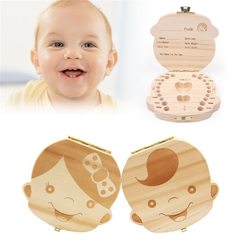 Espanol English Baby Teeth Box Organizer Save Milk Teeth Wood Storage Box Hadiah Besar 3-6YEARS Creative For Kids Boy Girl Image