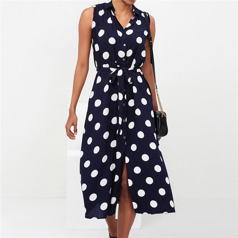 Long Dress Women Sexy Summer Polka Dot Beach Chiffon Dresses Boho Style Casual Party Turn Down Collar Office Shirt Dress Vestido 8