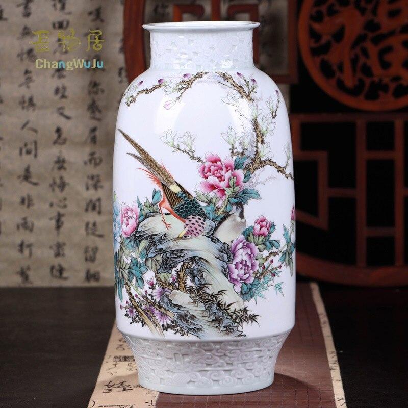 Changwuju à Jingdezhen le vase en porcelaine rose famillie fait main peint par Chaozhiyou comme décoration de la maison