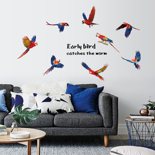 Color Parrot Birds Wall Stickers Home Decor Living Room Diy Art Decals  Removable Wallpaper