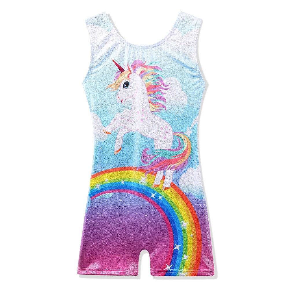 BAOHULU Toddler Girls Sleeveless Rainbow Horse Gymnastics Leotard Sparkle Teens Ballet Dance Costume Kids Dance Wear Biketard