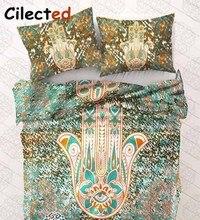 Cilected Impreso Hamsa Piña Bergamota Mandala Cubierta de Cama colcha de la Cama Juegos de Cama Funda Nórdica Edredón Almohada Cubierta 3 unid conjunto