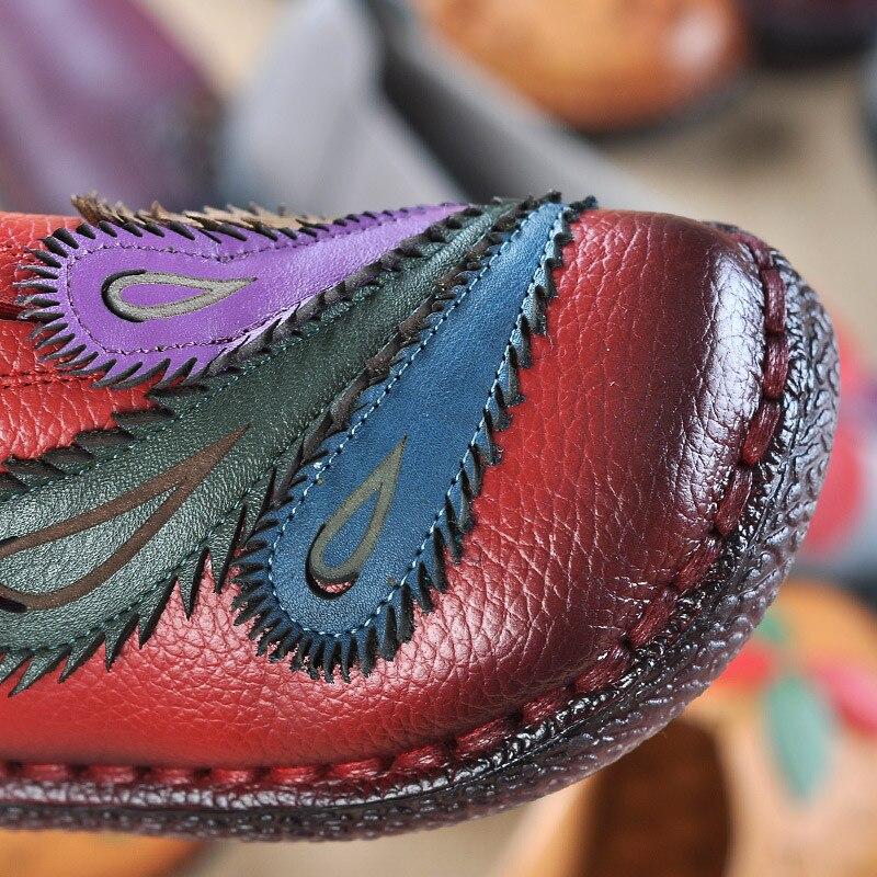 Folk Véritable Chaussures Cuir Noir rouge La Femmes Casual Fond pourpre Femme Main Mou À En Couleurs Appartements Dames Mocassins Beyarne Mélangées Style fX5qwWz5