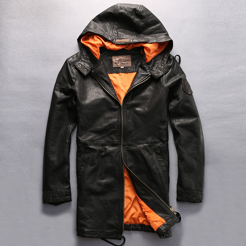 Jacket Coat Genuin Hood Fashion Black Long for Men Causal