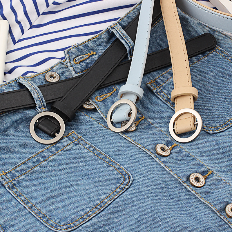 Harajuku Round Buckle Fashion Design 2019 Women's Boots Punk Style Faux Leather   Belts   Thin   Belt   Adjustable   Belt   For Dress   Belts