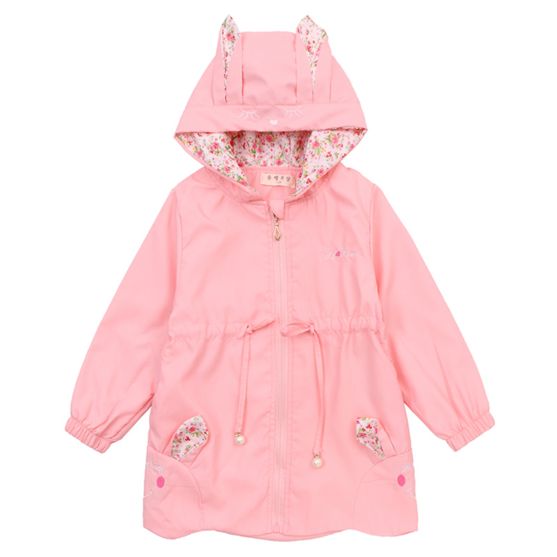 Girls Coats Cute Rabbit Hooded Jacket Outwear For Baby Kids Clothes Print Long Sleeve Casual Windbreakers 6 8 10 12 Years Outfit