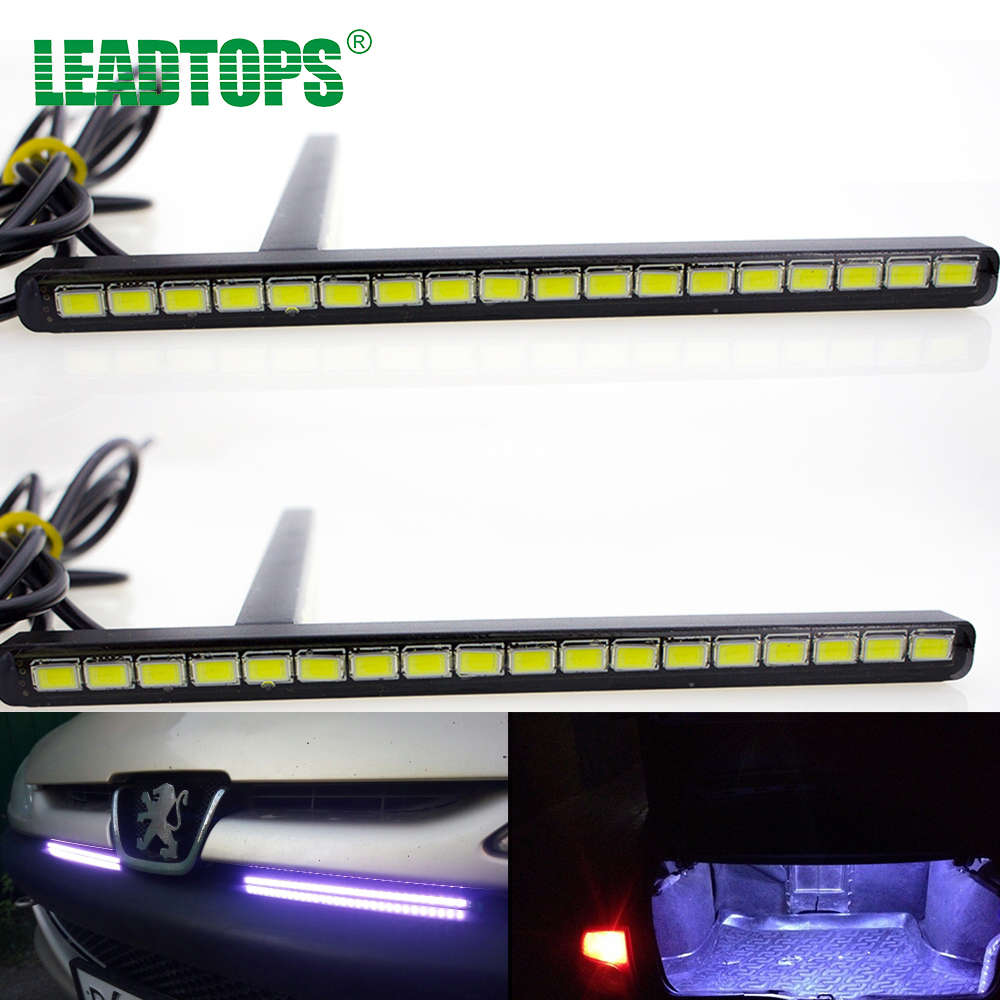 2PCS 18 LED SMD5730 DRL LED Car Fog Daytime Running Light Ultra-thin Invisible Waterproof LED DRL Strip FOR  Audi, Opel F led strip light smd5630 5730 waterproof