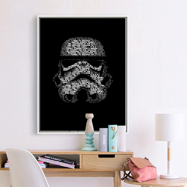 Stormtrooper Star Wars Wall Art Canvas Movie Posters And Prints Black White  Painting Wall Picture For