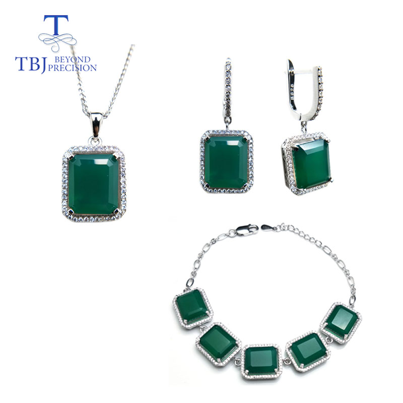 TBJ 40 45ct natural green agate gemstone jewelry set in 925 silver classic design gemstone jewelry
