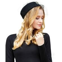 FS Inghilterra Stile di Lana Nero Fortino Cappelli Per Le Donne Con Cappello  di Velo Da Sposa Delle Signore Dell annata Formale . 62a4f43ce3f7