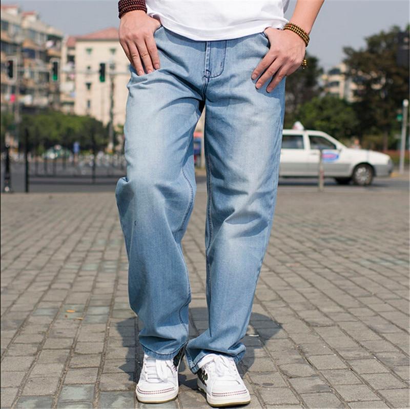 Hot Men Baggy Jeans Plus Big Size Mens Hip Hop Jeans Long Loose fashion Skateboard Baggy Relaxed Fit Jeans For Men Blue 42 44 46