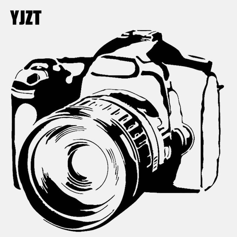 YJZT 15.1CM*14.4CM Personality Photo Camera Video Vinyl Black/Silver Car Sticker C22-0817