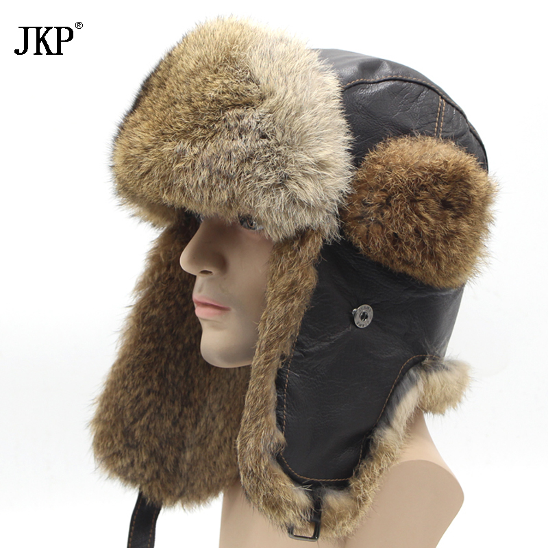 Mens Rabbit Leather Fur Hat Russian Soviet Dad Ushanka trapper fur hat winter hats for men