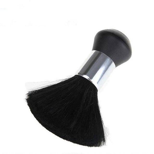 1 PC プロフェッショナルソフト黒ネックフェイスダスターブラシ理髪髪きれいなヘアブラシサロン理髪スタイリングツール