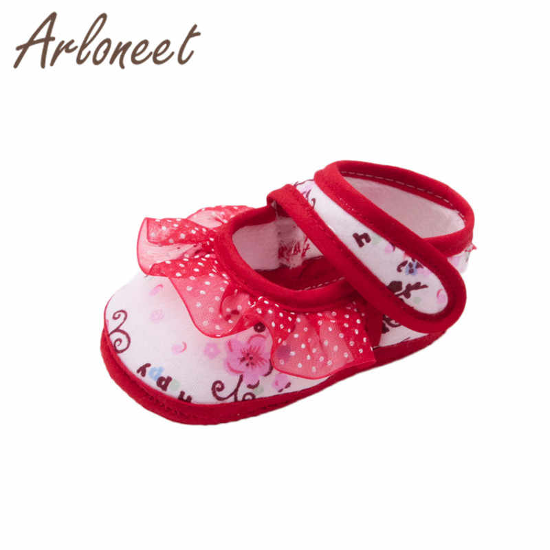 ARLONEET 2019 Newborn Girl baby Toddler Shoes kids Canvas Anti-slip Shoes Lace Floral Sneaker Baby Cloth Crib Shoes footwear