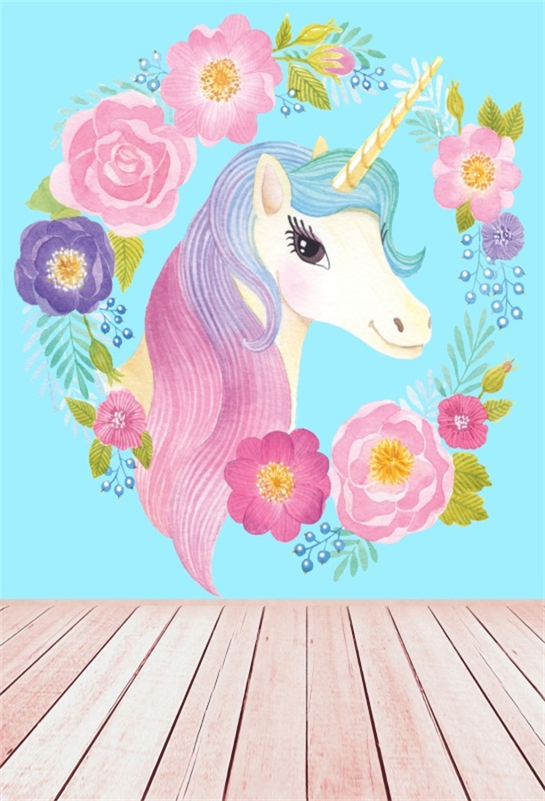 Laeacco Flowers Unicorn Wooden Floor Baby Children Photography Backgrounds Customized Photographic Backdrops For Photo Studio kinston flowers