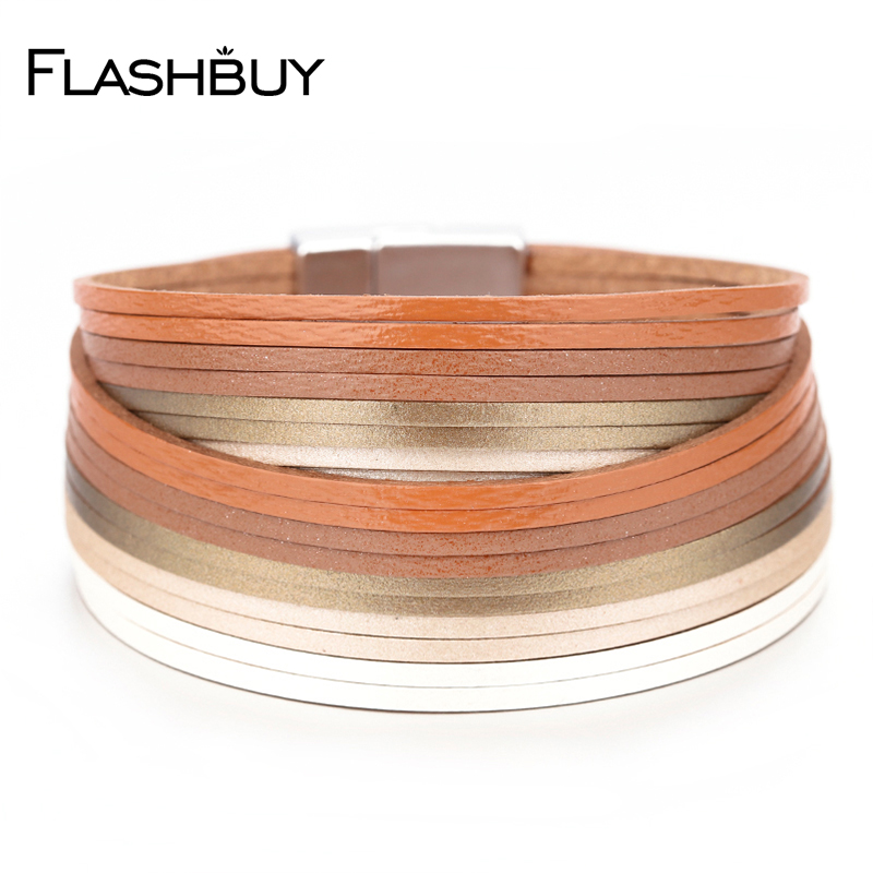 Flashbuy Leather Wrap Bracelet Men Multiple Layers Charm Trendy Wrap Bracelet Jewelry