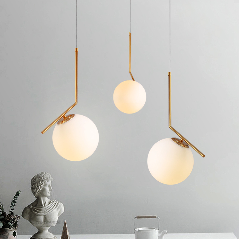 MOdrn Glass Ball LED Pendant Lights Modern Pendant Lamps Living Room Bedroom Dinning Room Art Deco Indoor Use Kitchen Fixtures vintage edison pendant lamps with one head which height could be adjusted best matching indoor dinning room living room bed room