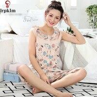 Women Cute Print Pajama Sets Camisole Cotton Pajamas Shorts Set Summer Sleepwear Sleeveless Nightwear Pajamas Two