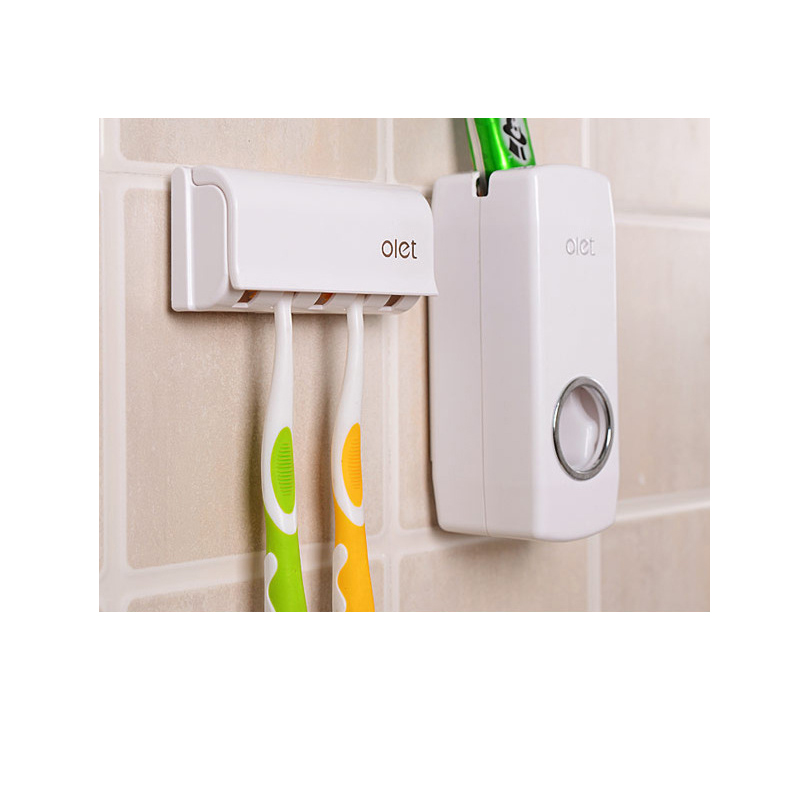 Plastic Toothbrush Holder Set Rack Wall Mount Stand Bathroom Accessories Plastic Automatic Toothpaste Dispenser Storage Holder