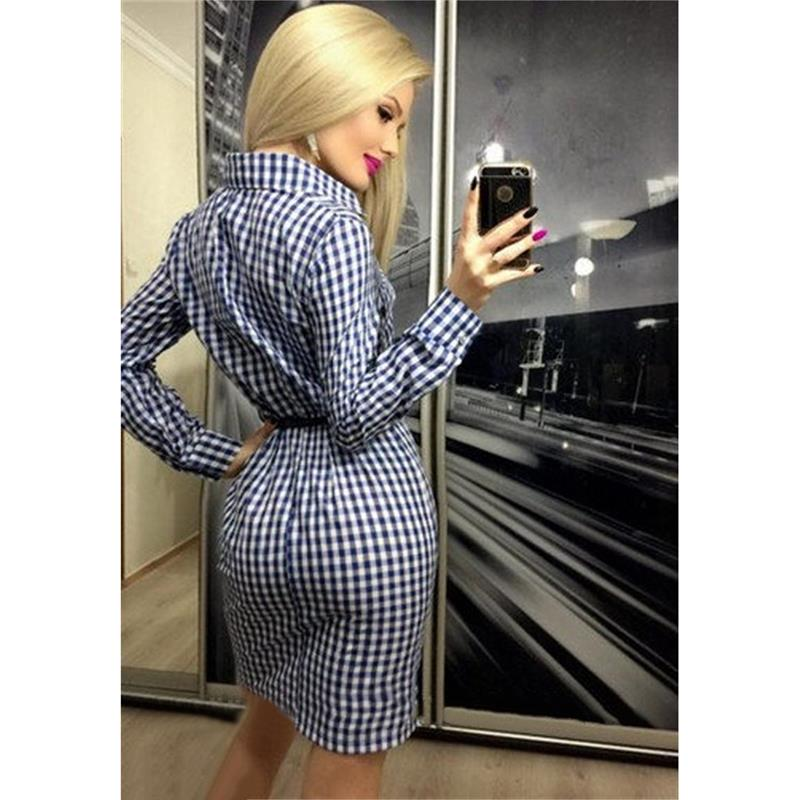 Plaid Dress Women Long Sleeve Casual Office Dress Mini Party Dresses Turn-Down Collar Dress Cothing Without Belt WS1735M
