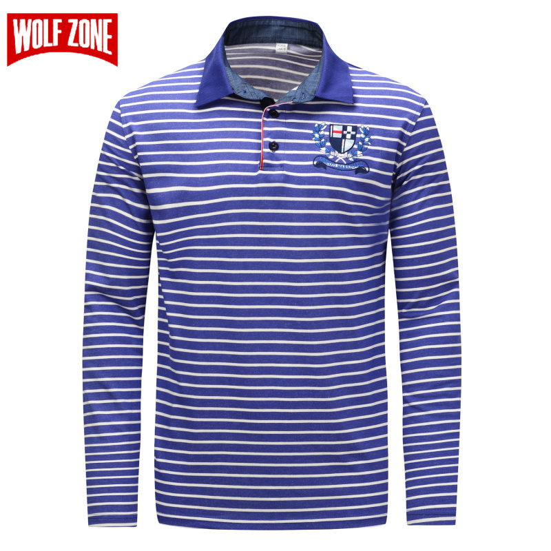 WOLF ZONE   Polo   Shirt Men Spring and Autumn Long Sleeve Cotton Full Warm Tops Brand Fashion Casual   Polo   Shirts Europe/US Size