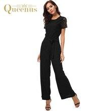 b592a2cc20bc QUEENUS Women s Jumpsuit Short Sleeve Sashes Bodysuit Solid Formal Slim Black  Rompers Full Chiffon Wide Leg Jumpsuit Female Set