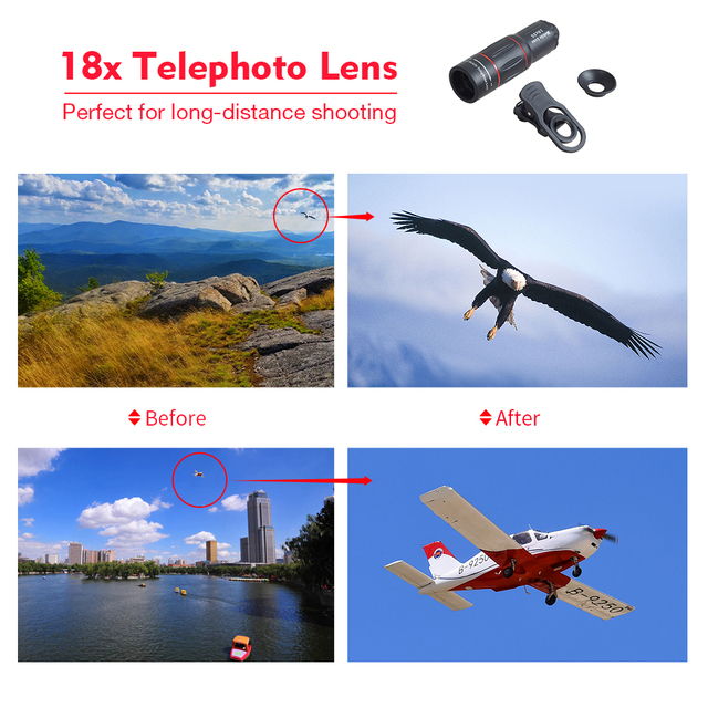 APEXEL phone camera lens 18X Telescope Telephoto lens 18x25 Monocular for iPhone Samsung android ios smartphones 2