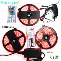 1 set SMD 5050 60 LED/M 5M 10M RGB LED Strip Non-Waterproof Waterproof tape light Flashlight strip+44 key Remote+Power Adapter