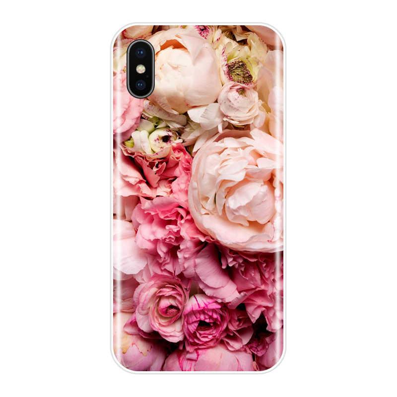 الهاتف حقيبة لهاتف أي فون SE 5s 5s 5C لينة سيليكون بولي يوريثان رقيقة جدا أزهار لطيفة الأزهار الغطاء الخلفي لحقيبة آيفون 4s 4s