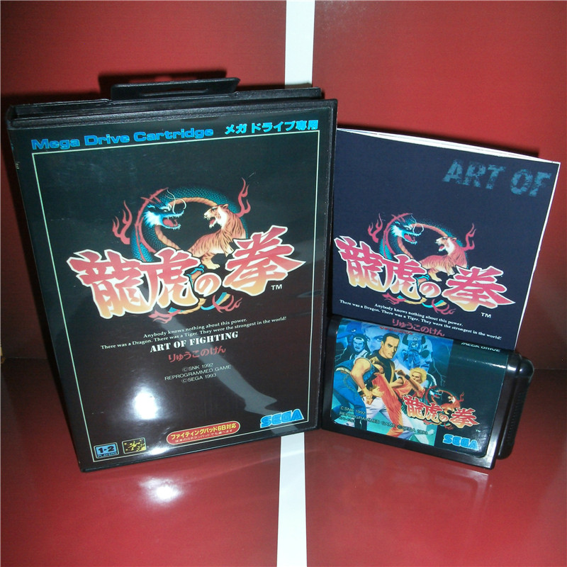 MD games card - Art of Fighting Japan Cover with Box and Manual for MD MegaDrive Genesis Video Game Console 16 bit MD card