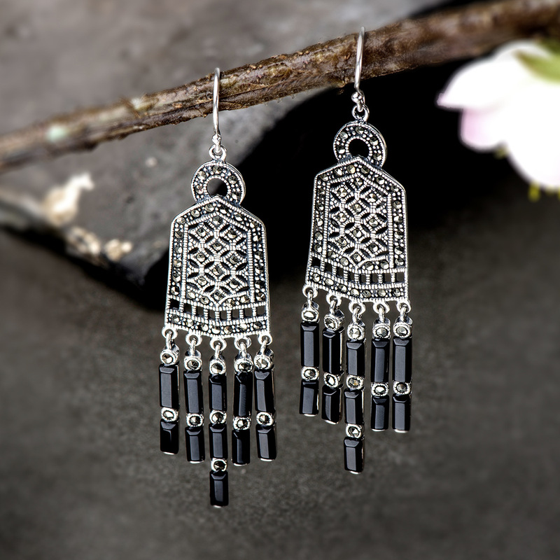 925 Sterling Silver Natural Gemstone Ethnic Boho Bohemian Tassel Earrings For Women Fashion Trendy Jewelry Zilveren Oorbellen