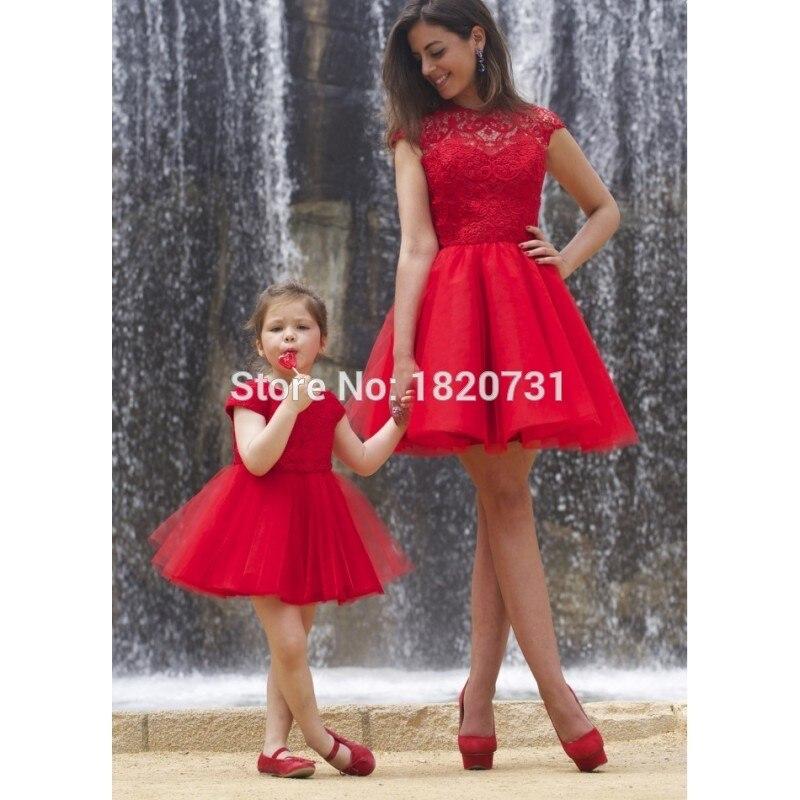 Pas cher rouge courte robes de bal dos nu dentelle Cap manches fille mère correspondant robe pour fête O cou gonflé Tulle jupe robes