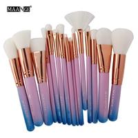 Best Deal MAANGE 15 pcs Pincel de Maquiagem Cosméticos Sombra de Olho Blush Brushes Set Professional Foundation Brushes Ferramenta de Beleza Presente