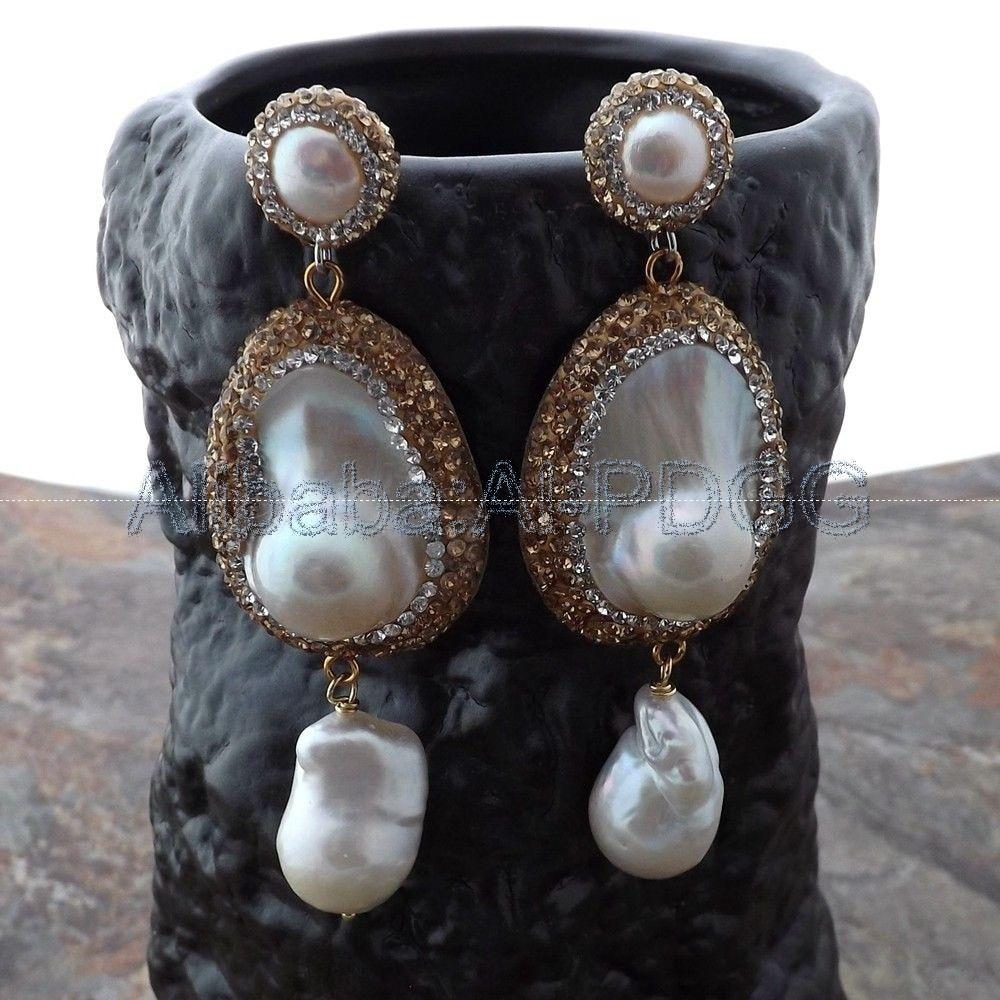 Teardrop White Mabe Keshi Pearl Earrings