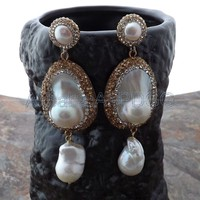 Teardrop White Mabe Keshi Pearl Earrings
