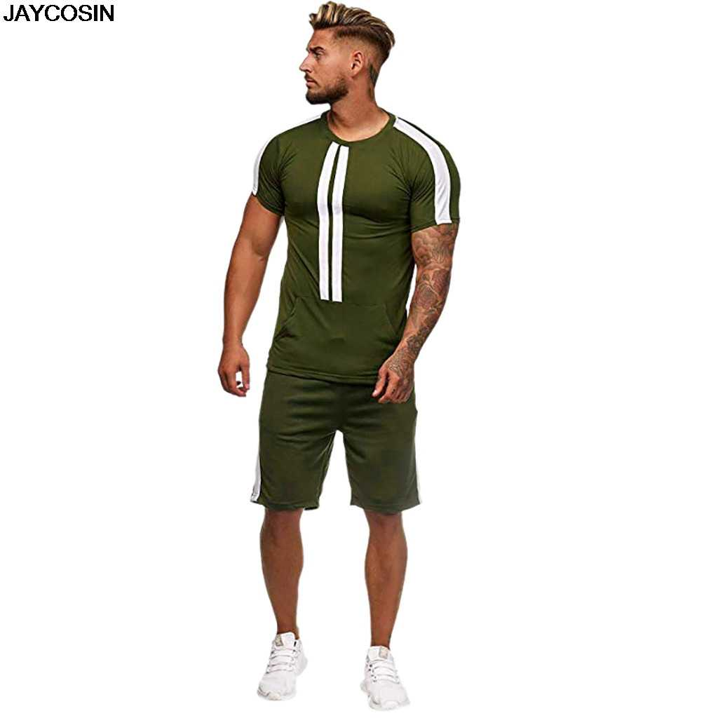KLV Pria Set Fashion Musim Panas Celana Pendek Olahraga Tipis Set Garis Waktu Luang Kasual Pinggang Elastis Poliester Padat 50-54 Cm Leher O