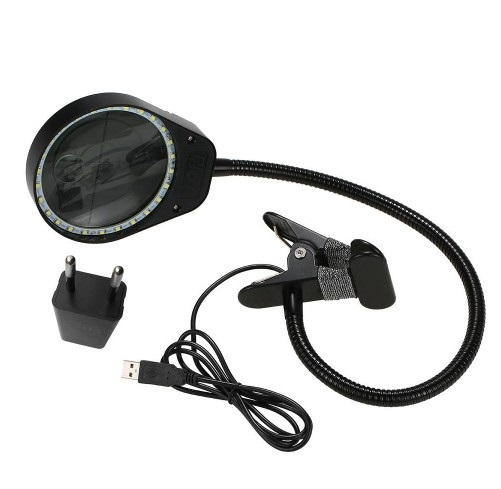 Brightech LightView 3X 10X Magnifying Glass LED Lamp - Lighted Magnifier with Stand & Clamp - for Desk, Sewing