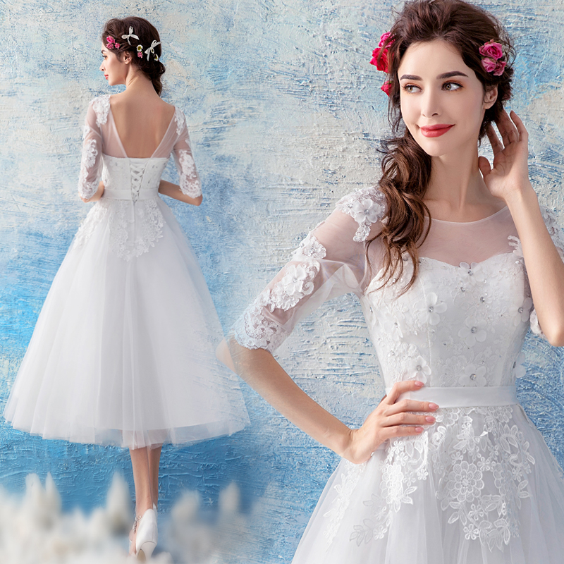 2018 new plus size women pregnant bridal wedding party   dress   lace Embroidery ball gown sexy romantic short   Bridesmaid     dress