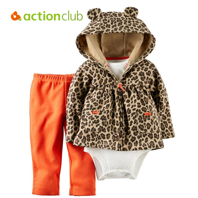 3 Unids Ropa de Bebé Recién Nacido Mono Infantil Kids Abrigo Con Capucha Pantalones Set de Manga Larga Mono de La Manera Traje Del Niño Muchacha de Los Muchachos ropa