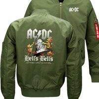 Bomber Flight Flying Jacket AC DC Rock Band Winter thicken Warm Zipper Men Jackets Anime Men's Casual Coat nbw A+