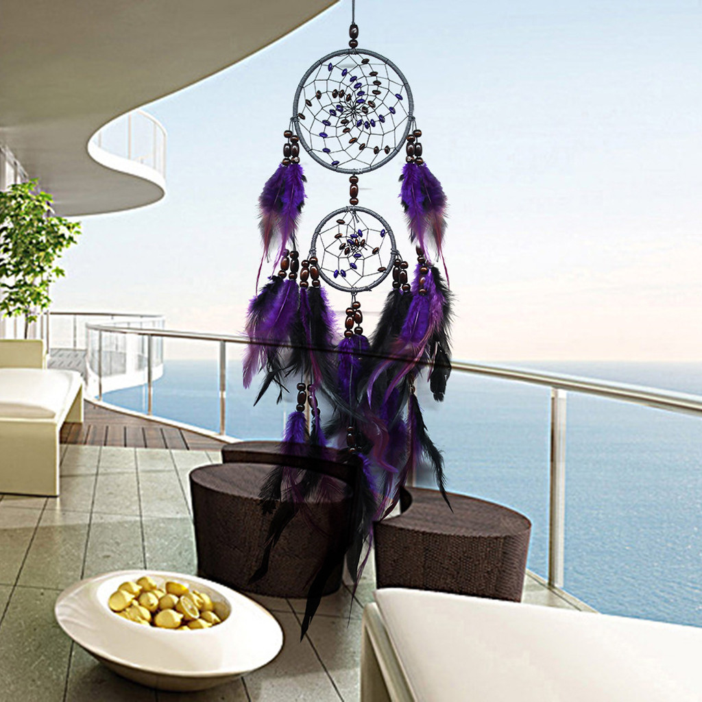 Handmade Dream Catcher Purple Feathers Decoration Ornament Gift Colorful Craft Dreamcatcher Wind Chimes Art Pendant L530